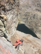 Following pitch 4. Spectacular position above Arrowhead Lake.
