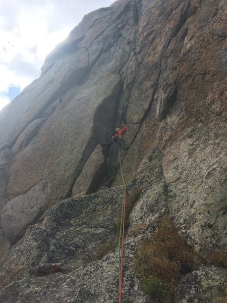 Rock Climbing Photo: Getting into the chimney/slot on P7, gunning for t...