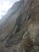 Getting into the chimney/slot on P7, gunning for the handcrack above.