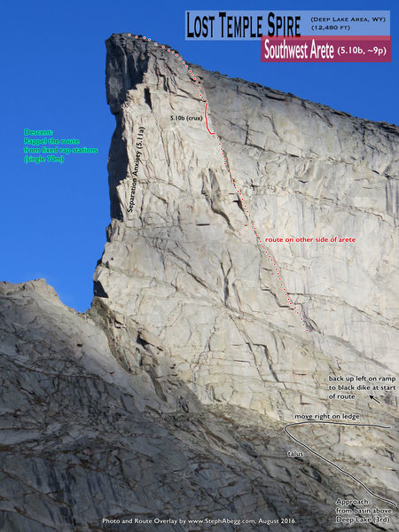 Rock Climbing Photo: Route Overlay SW Arete