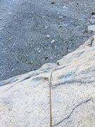 Rock Climbing Photo: Looking down at my belayer from a good stance betw...