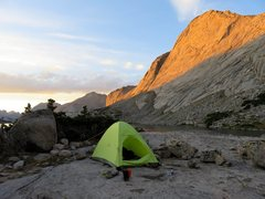 Rock Climbing Photo: Camp at the head of Deep Lake. Evening sun on Sout...