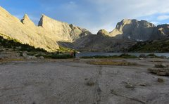 Rock Climbing Photo: View from north end of Deep Lake. Steeple Peak, Lo...
