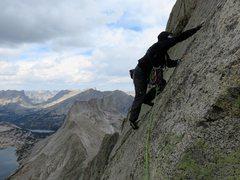 Rock Climbing Photo: Jeff starting up the crux pitch.