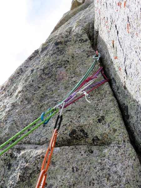 Rock Climbing Photo: One of the rap anchors. Cam and sling for backup f...