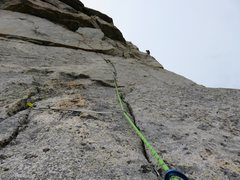 Rock Climbing Photo: Looking up at Pitch 6, which climbs a thin crack t...