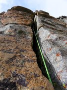 Rock Climbing Photo: Pitch 8. The deep chimney. There was some protecti...