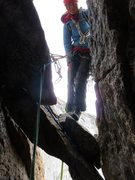 Rock Climbing Photo: Rappelling from a slung block in the upper chimney...