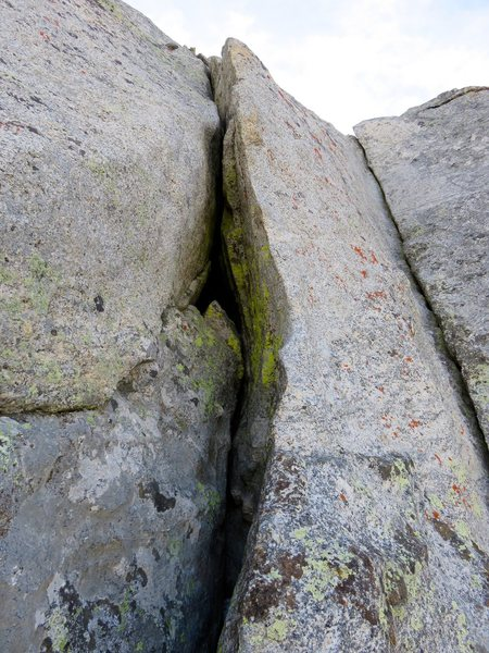 Start of Pitch 1. You can start up either crack. The left start is 5.9 and the corner on the right is 5.8. I went left.