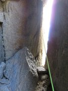Rock Climbing Photo: Pitch 4. This pitch tunnels through the chimney 40...
