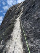Rock Climbing Photo: The left-sloping ramp of the second half of Pitch ...
