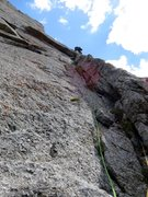 Rock Climbing Photo: Pitch 4. This pitch starts off my ascending a left...