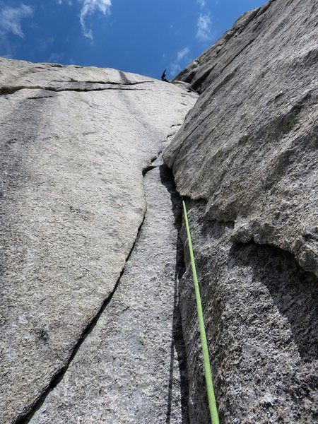 Looking up the second corner pitch. Just more fun and sustained 5.8-5.9 climbing.
