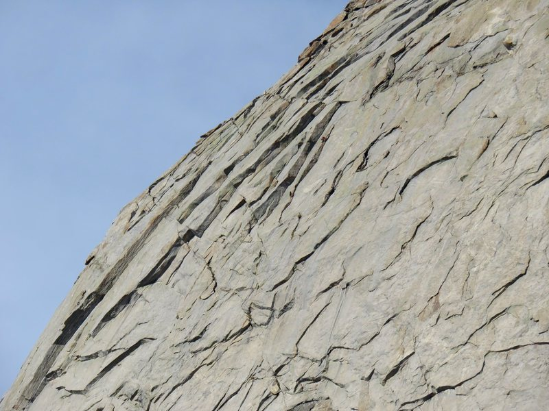 A view of climbers on the dihedral (Pitch 8).