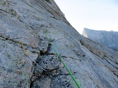 Rock Climbing Photo: Traverse right and up from ledge to another ledge ...