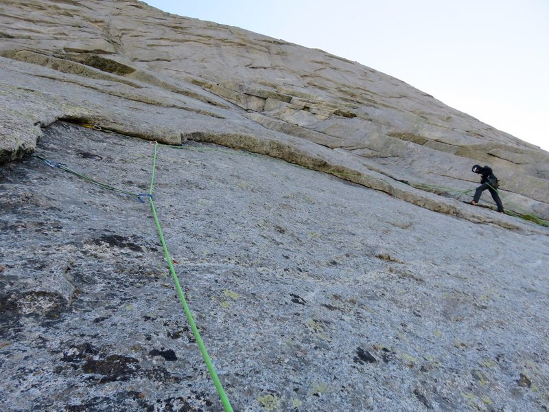 The higher option on Pitch 2 involved a undercling to the belay. This was definitely not 5.6 but was good climbing.