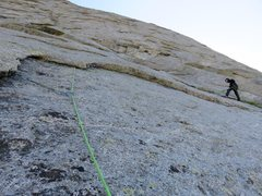 Rock Climbing Photo: The higher option on Pitch 2 involved a undercling...