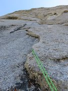 Rock Climbing Photo: Pitch 3.  This pitch follows the corner system up ...