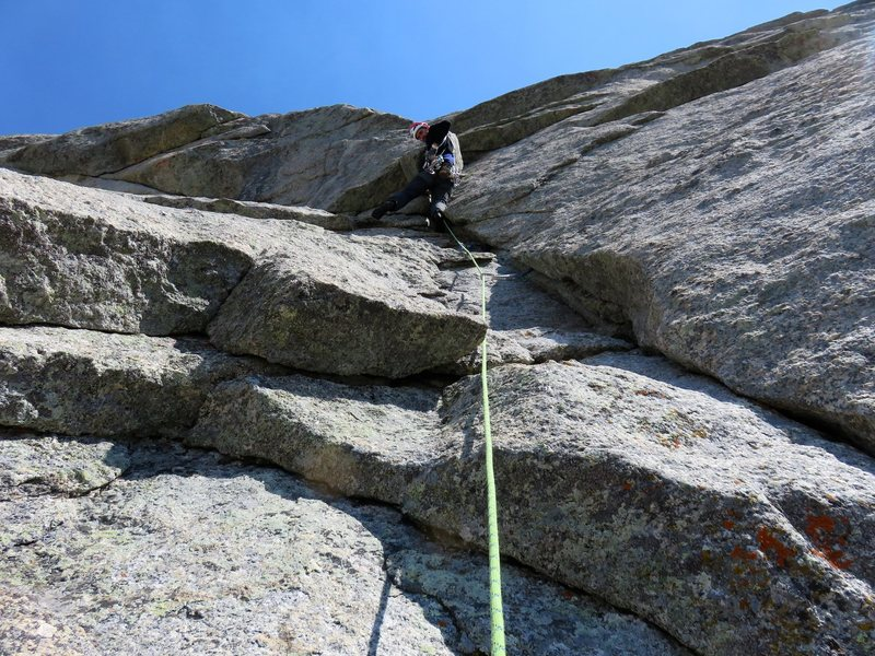 Rock Climbing Photo: Pitch 6. In the photo Jeff is at the small bulge t...