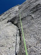 Rock Climbing Photo: Pitch 6. This is the second crux of the pitch, up ...