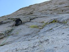 Rock Climbing Photo: his pitch supposedly climbs the flake above Jeff w...
