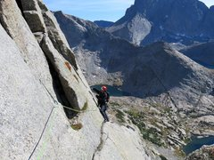 Rock Climbing Photo: The final traverse at the end of Pitch 8.
