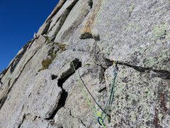 Rock Climbing Photo: The route ends by traversing this diagonal weaknes...