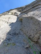 Rock Climbing Photo: Pitch 8. This pitch climbs the groove feature. The...