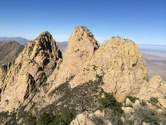 Rock Climbing Photo: View of Middle Rabbit Ear (also NRE at right, SRE ...