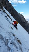 Rock Climbing Photo: Traverse from the main couloir over toward the sum...