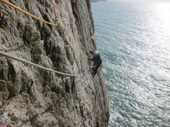 Rock Climbing Photo: Slab climbing on pitch one or two, depending on ho...