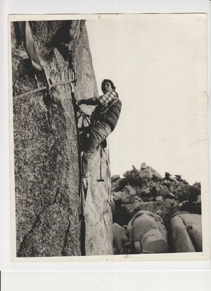 Rock Climbing Photo: Pete Johnston aiding on Scared Bare 1976