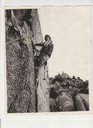 Rock Climbing Photo: Pete Johnston aiding on Scared Bare 1976