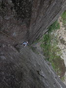 Rock Climbing Photo: Knee jam, partial rest. Crux is the last 10 feet. ...