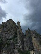 Rock Climbing Photo: Summit of Sandberg Peak before a large hail/lightn...