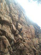 Rock Climbing Photo: Dave A. getting into the upper headwall.  Notice t...
