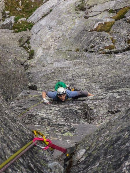 Rock Climbing Photo: Jonathan climbing up Pitch 1 of Lion Tamer.  He is...