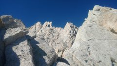 Rock Climbing Photo: View of the flake, second tower with first crux, e...