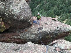 Rock Climbing Photo: The last scary step across. Nice to have been rope...