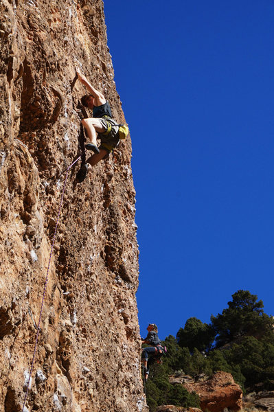 Rock Climbing Photo: Cas redpointing Stop That Terrain.  Way to go, dud...