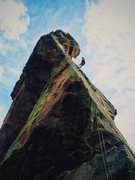 Rock Climbing Photo: Graeme rappelling off the west side of The Matron ...