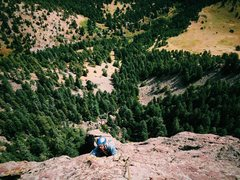 Rock Climbing Photo: Graeme following along the East Face just below a ...