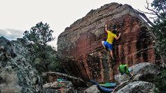 Rock Climbing Photo: Reaching an edge on Kugelblitz.