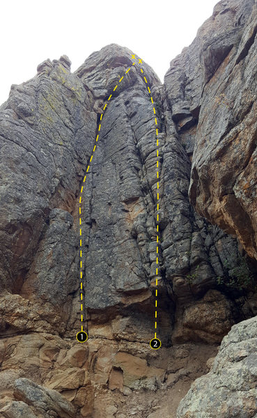 The north gully on the East Block.<br> <br> 1. Corner Crack (5.6).<br> 2. Unknown (5.7+).
