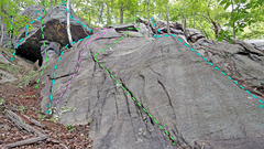 Rock Climbing Photo: Giving Tree + Dragon from SW overview of routes: L...