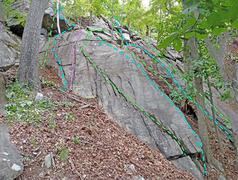 Rock Climbing Photo: Giving Tree + Dragon left from SSW R. Every Which ...