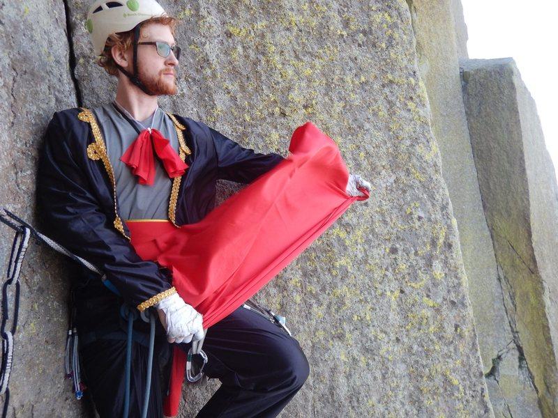 On the First Matador Ascent (FMA) of El Matador, a matador prepares for the crux pitch.