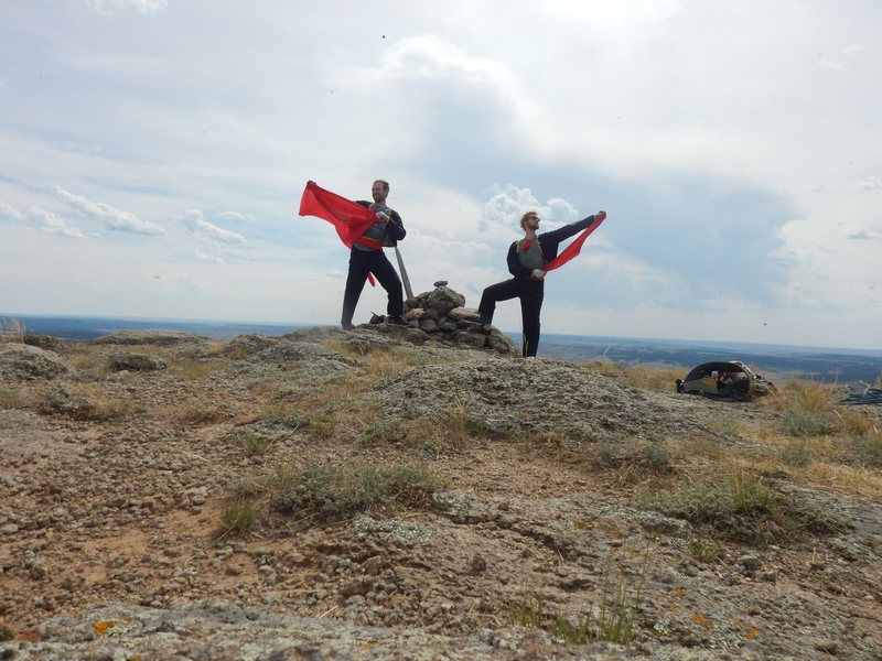 Having conquered ze bull, the matadors celebrate the First Matador Ascent (FMA) of El Matador.