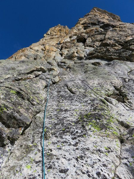 Pitch 1. Sarah is at the first belay in the photo.