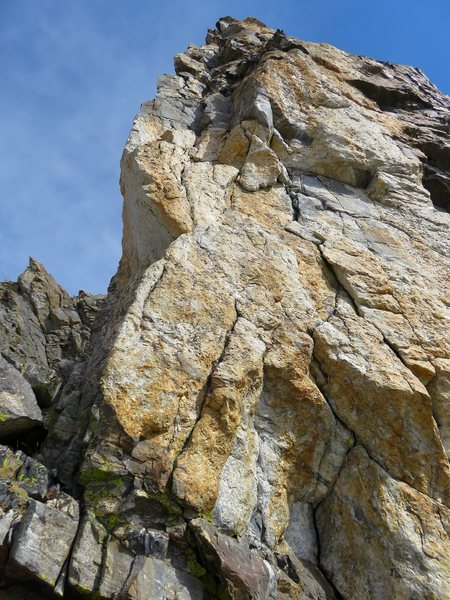Pitch 3. We took the original route which starts just left of the arete and climbs a face (runnout but easy) back to the right side of the arete. Really fun climbing.